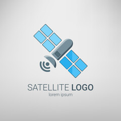 Satellite logo. Vector illustration. Flat satellite icon.