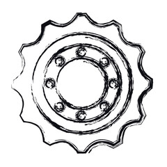 bike gear icon over white background. vector illustration