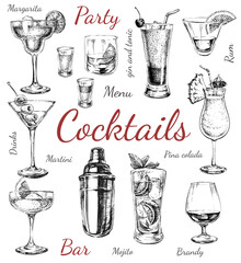 Set sketch cocktails and alcohol drinks hand drawn illustration