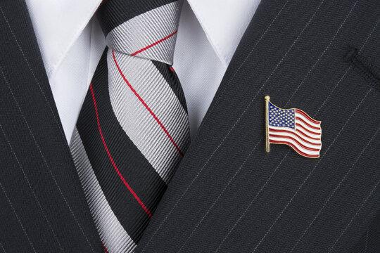 Politican wearing lapel pin