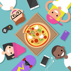 Top view of the group of millennials lying on the floor and eating pizza / flat editable vector illustration, clip art