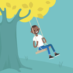 Young black guy sitting on the swing / editable flat vector illustration