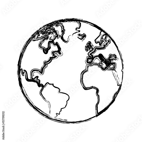 Sketch Globe World Earth Map Icon Vector Illustration Stock Image