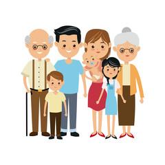 very adorable big family portrait including grandparents vector illustration