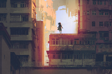 the mystic girl stands on a rooftop of an old building with digital art style, illustration painting
