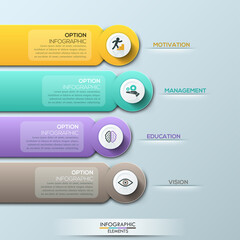 Modern infographic option banner with colorful abstract round paper ribbons on grey background.