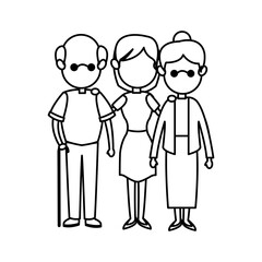 family parent and grandparents together character vector illustration