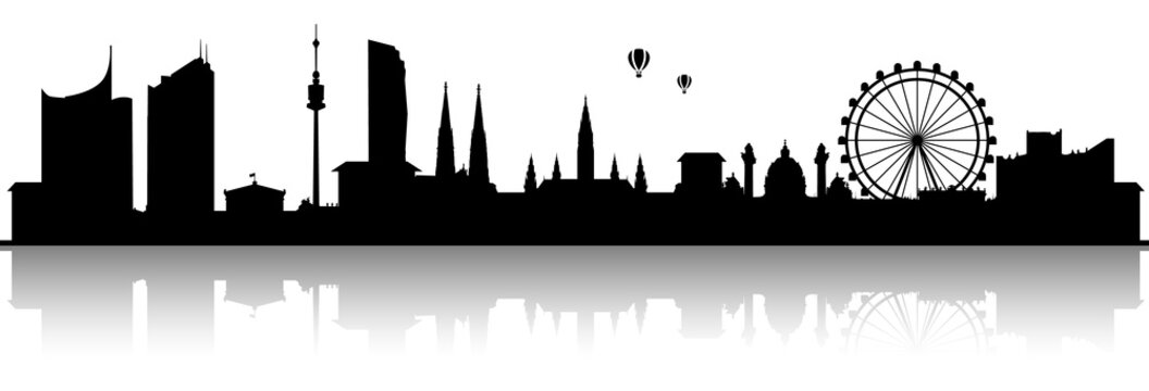 Wien Skyline Silhouette schwarz