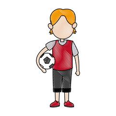 cartoon boy kid holding ball soccer image vector illustration