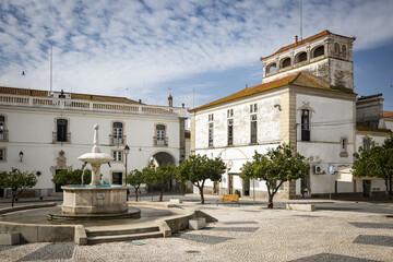 Praça da República square in Monforte town, District of Portalegre, Portugal