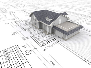 House and Blueprints. Top perspective View of a House ontop of large set of Blueprints. 3D render.