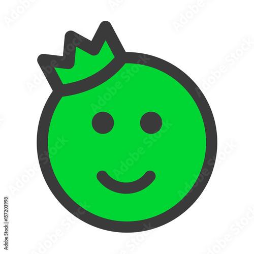 Prince Or King Emoticon Emoji Isolated On White Background Happy