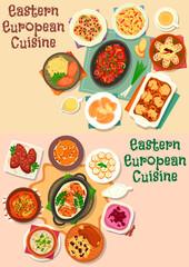 Eastern-european cuisine meat lunch icon set