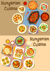 Hungarian cuisine lunch icon set for food design