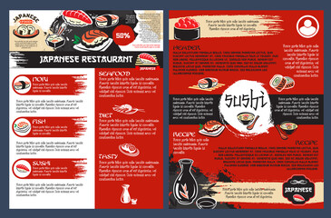 Sushi bar and japanese seafood restaurant poster