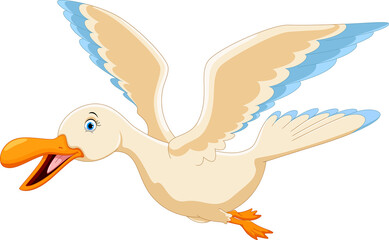 Vector illustration of cute flying duck cartoon isolated on white background