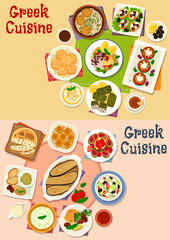 Greek cuisine lunch menu icon set for food design