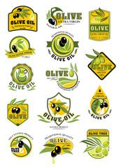 Olive oil and fruit label set for food design