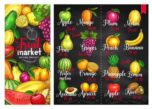 Fruit chalk sketches blackboard poster template