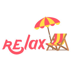 Lettering hand drawn relax with umbrella and chaise icon