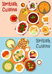 British cuisine popular dishes icon set design