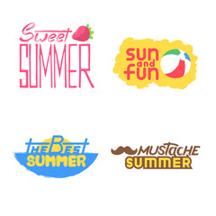 Lettering hand drawn set with summer logos, banners and icons for print
