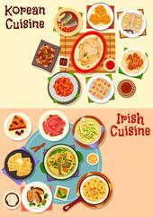 Korean and irish cuisine dinner icon set design