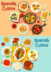 Spanish cuisine menu icon set for dinner design