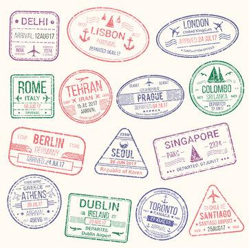 Passport stamp, travel visa sign icon set