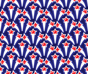 Independence Day of America seamless pattern. July 4th  endless background. USA national holiday repeating texture with stars. Vector illustration