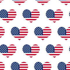 Independence Day of America seamless pattern. July 4th an endless background. USA national holiday repeating texture with a heart from the flag. Vector illustration