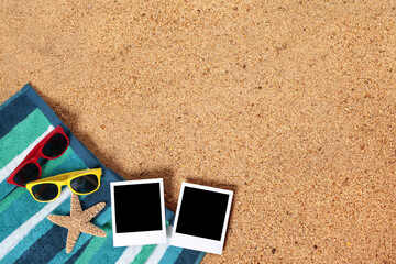 Summer vacation photo frame album prints on a beach background