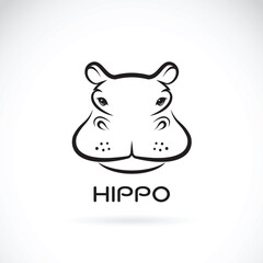 Vector of a hippo face design on white background. Wild Animals.