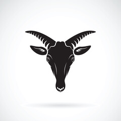 Vector of a goats mountain head on white background. Wild Animals.