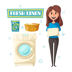 Vector poster with laundry and washing machine