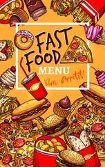 Vector menu template of fast food restaurant