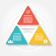Vector triangle infographic template. Business concept with 3 options, parts, steps or processes.