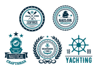 Vector set of nautical anchor or marine helm icons