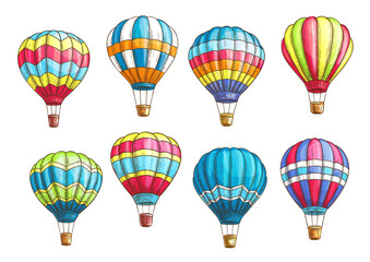 Vector sketch icons set hot air balloons pattern