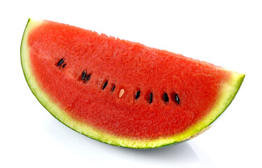 Slices of watermelon on white background