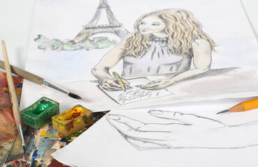 Photo of illustration of beautiful women in paris, drawn with watercolor