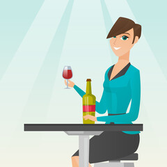 Woman drinking wine in the restaurant.