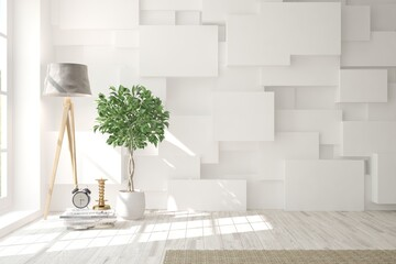 White empty room with flower and lamp. Scandinavian interior design. 3D illustration