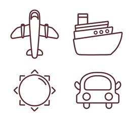 travel time related icons over white background. vector illustration