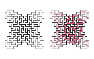 Abstract maze / labyrinth with entry and exit. Vector labyrinth 142.