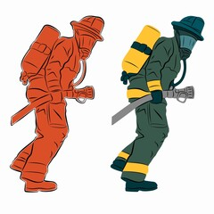illustration of a fireman, vector draw