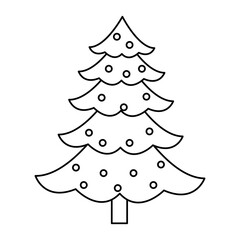 christmas pine tree balls decoration celebration, outline image vector illustration