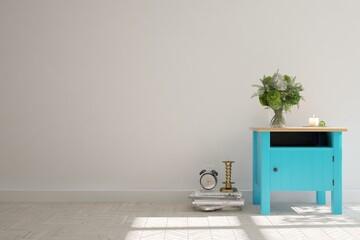 White modern room with shelf. Scandinavian interior design. 3D illustration