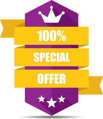 Special offer purple label and sign.