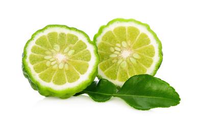 Half of bergamot fruit with leaf isolated on white background